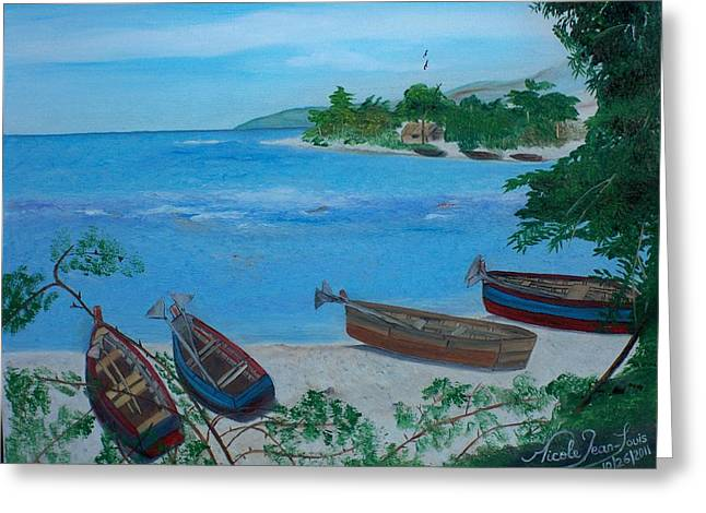 Nicole Jean-louis Greeting Cards - Fishermen Boats By The Sea Greeting Card by Nicole Jean-Louis