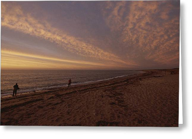 New England States Greeting Cards - Fishermen Fishing In The Surf At Sunset Greeting Card by Todd Gipstein
