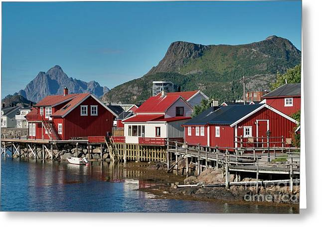 Norway Village Greeting Cards - Fishermens houses Greeting Card by Heiko Koehrer-Wagner