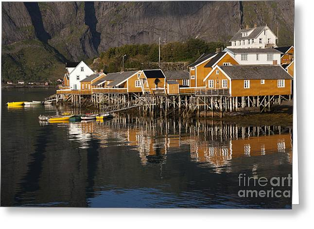 Norway Village Greeting Cards - Fishermens Village Sakrisoy  Greeting Card by Heiko Koehrer-Wagner
