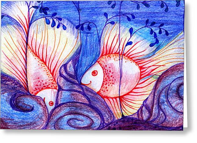 Fishes Greeting Card by Hong Diep Loi