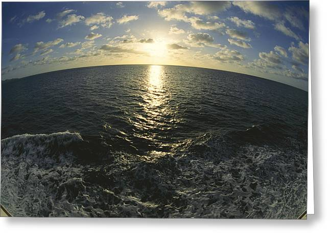 Virgin Gorda Greeting Cards - Fisheye Lens View Of Sunlit Ocean Greeting Card by Todd Gipstein