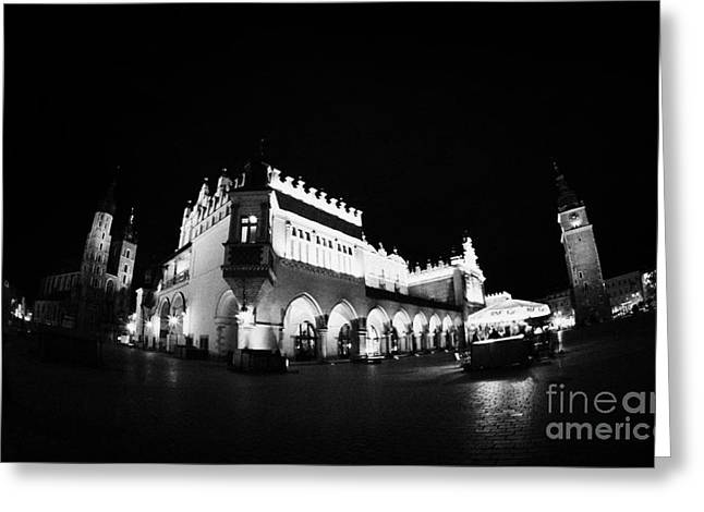 Polish City Greeting Cards - fisheye shot of Rynek Glowny main town square in the stare miastro with krakow at night Greeting Card by Joe Fox