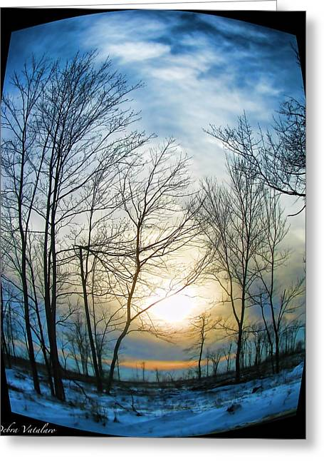 Hdr Landscape Mixed Media Greeting Cards - Fisheye Winter Landscape Greeting Card by Debra     Vatalaro