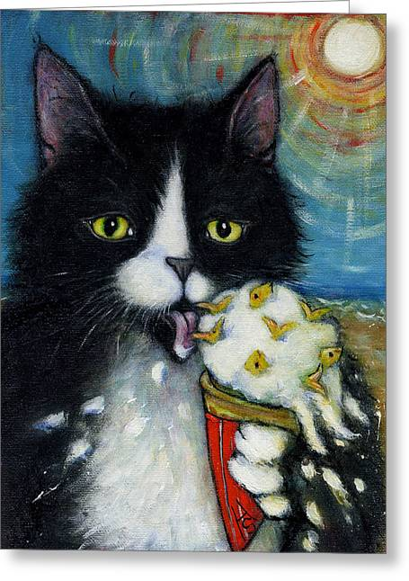 Licking Ice Cream Greeting Cards - Fishies n Cream Greeting Card by Heidi Shaulis
