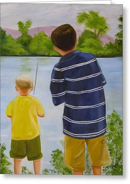 Child Greeting Cards - Fishin Greeting Card by Joni McPherson