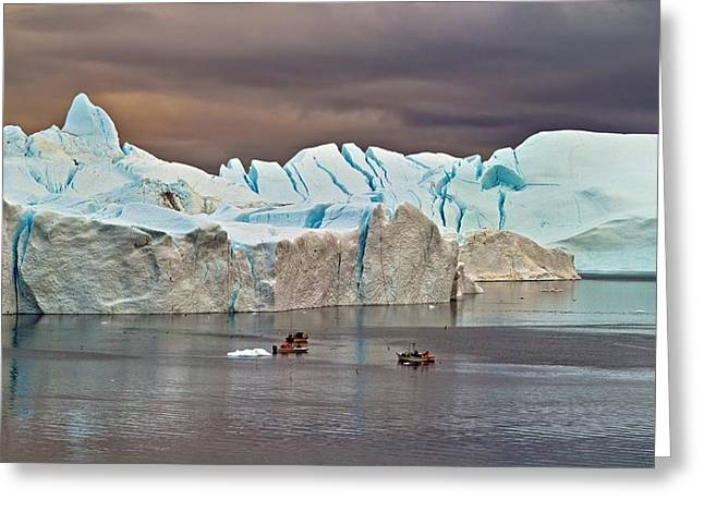 Greenland Greeting Cards - Fishing Among Giants Greeting Card by Robert Lacy