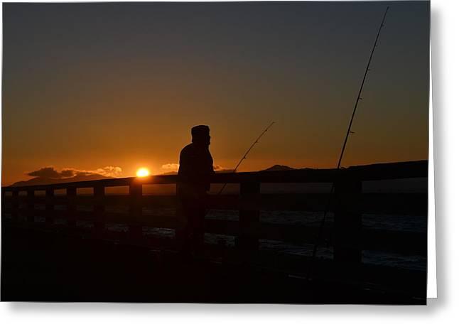 Fishing And Sunset  Greeting Card by Saifon Anaya