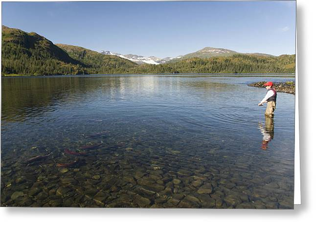 Fishing At Shrode Lake Greeting Card by Gloria & Richard Maschmeyer