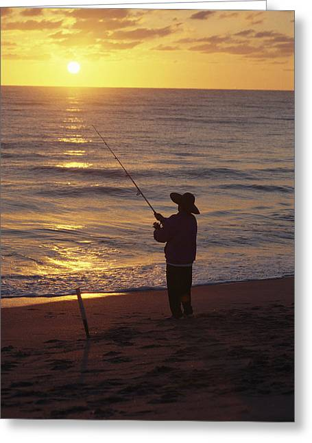 Hobe Sound Greeting Cards - Fishing At Sunrise Greeting Card by Raymond Gehman