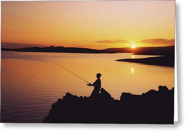 Fishing At Sunset, Roaring Water Bay Greeting Card by The Irish Image Collection