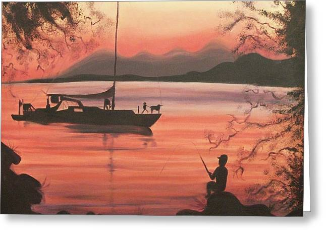 Suzanne Marie Leclair Paintings Greeting Cards - Fishing at Sunset Greeting Card by Suzanne  Marie Leclair