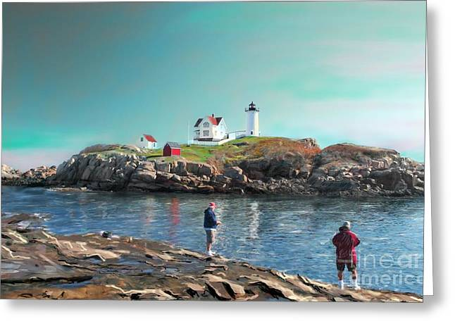 Nubble Lighthouse Paintings Greeting Cards - Fishing at The Nubble Lighthouse Greeting Card by Earl Jackson