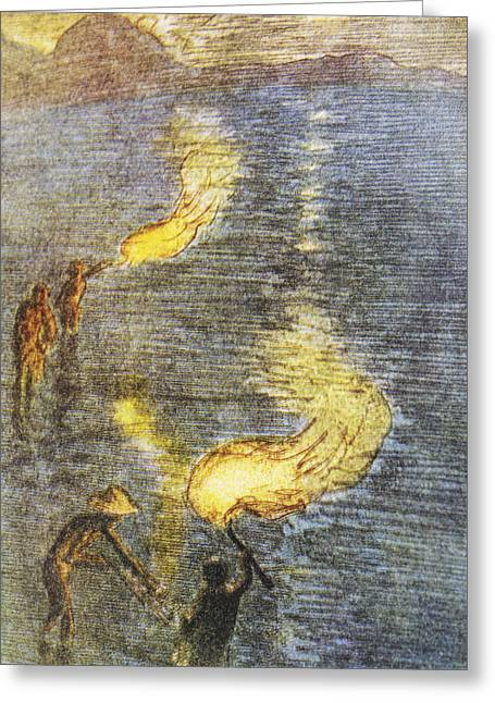 Bartlett Greeting Cards - Fishing at Twilight Greeting Card by Hawaiian Legacy Archive - Printscapes