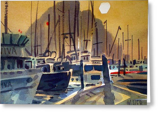 Commercial Fishing Greeting Cards - Fishing Boasts on Moro Bay Greeting Card by Donald Maier