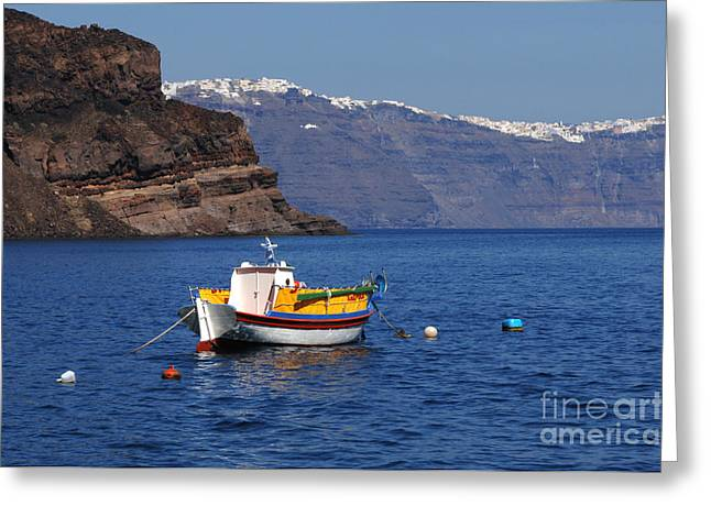 On The Edge Greeting Cards - Fishing Boat At Santorini Greeting Card by Bob Christopher