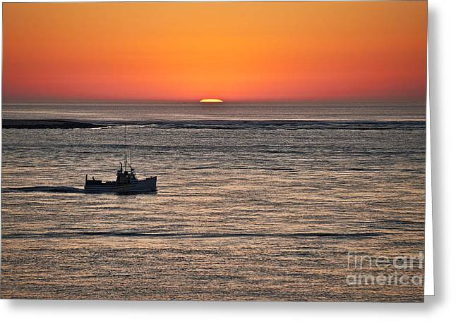 Chatham Greeting Cards - Fishing boat at sunrise. Greeting Card by John Greim