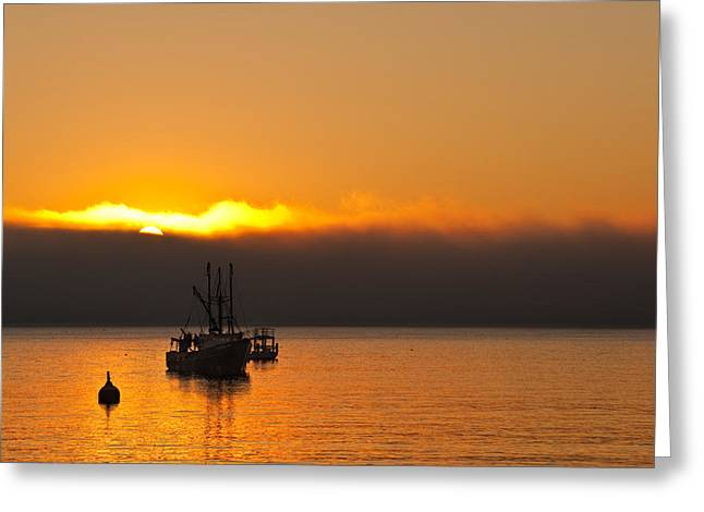 Fishing Boat At Sunrise Greeting Card by Steve Gadomski