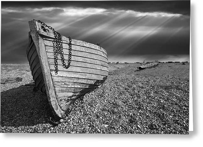 Disused Greeting Cards - Fishing Boat Graveyard 2 Greeting Card by Meirion Matthias