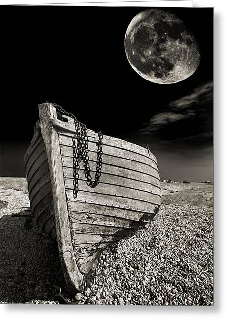 Moon Greeting Cards - Fishing Boat Graveyard 3 Greeting Card by Meirion Matthias