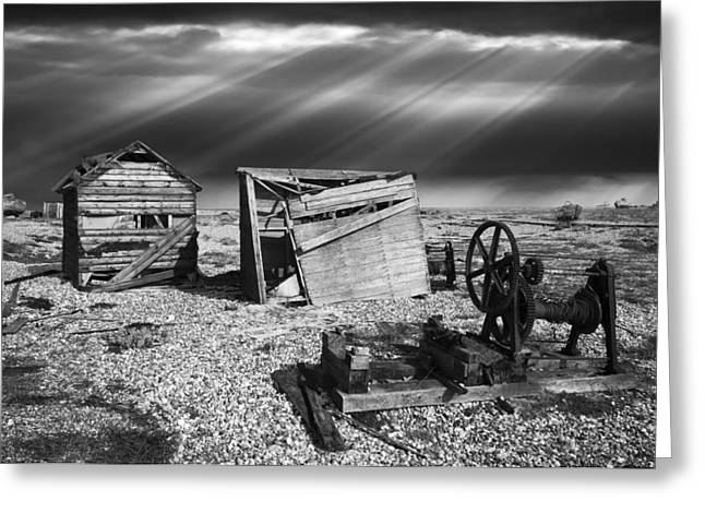 Disused Greeting Cards - Fishing Boat Graveyard 4 Greeting Card by Meirion Matthias