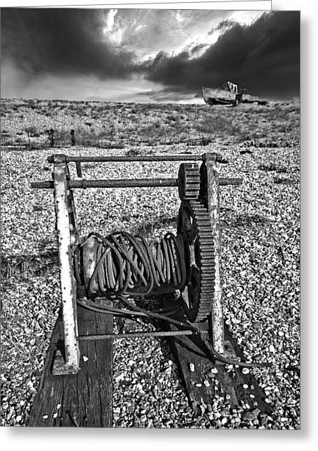Mono Greeting Cards - Fishing Boat Graveyard 8 Greeting Card by Meirion Matthias