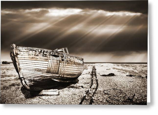 Warm Tones Photographs Greeting Cards - Fishing Boat Graveyard 9 Greeting Card by Meirion Matthias
