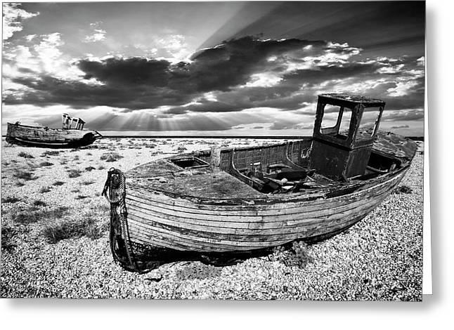 fishing boat graveyard Greeting Card by Meirion Matthias