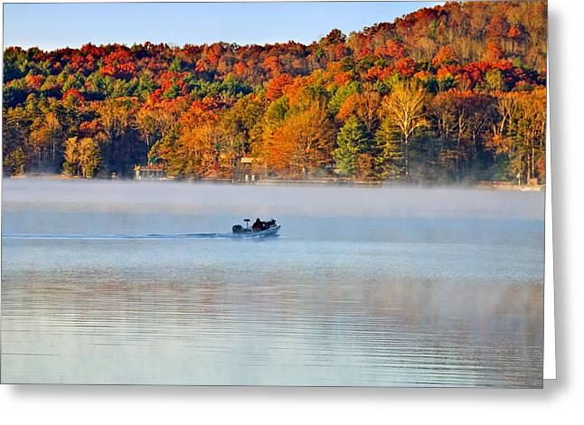 Susan Leggett Greeting Cards - Fishing Boat in Morning Fog Greeting Card by Susan Leggett