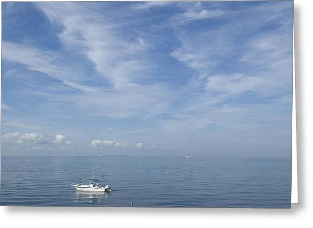 Two Fishing Men Greeting Cards - Fishing Boat On A Calm Sea Greeting Card by Todd Gipstein