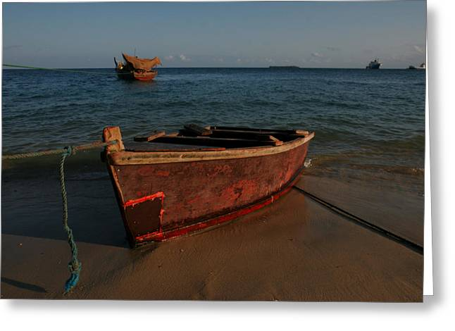 Number Of Objects Greeting Cards - Fishing Boat On The Beach Of The Indian Greeting Card by Gina Martin