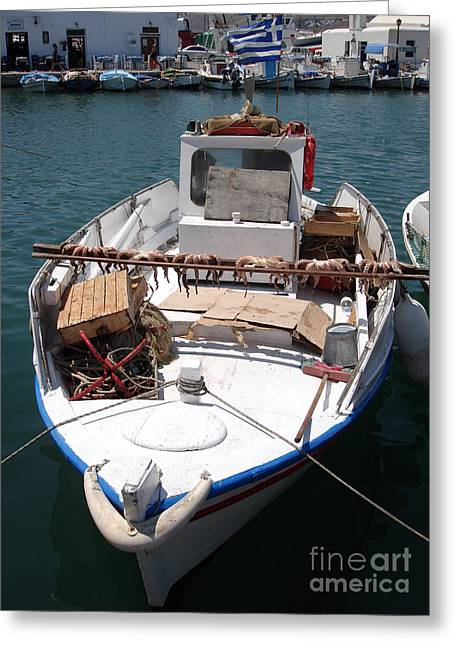 Mediterranean Landscape Greeting Cards - Fishing boat with octopus drying Greeting Card by Jane Rix