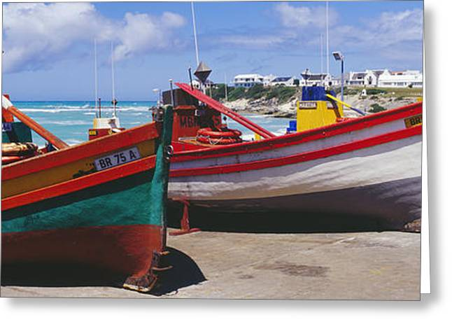 Boats In Water Greeting Cards - Fishing Boats at Arniston Greeting Card by Jeremy Woodhouse