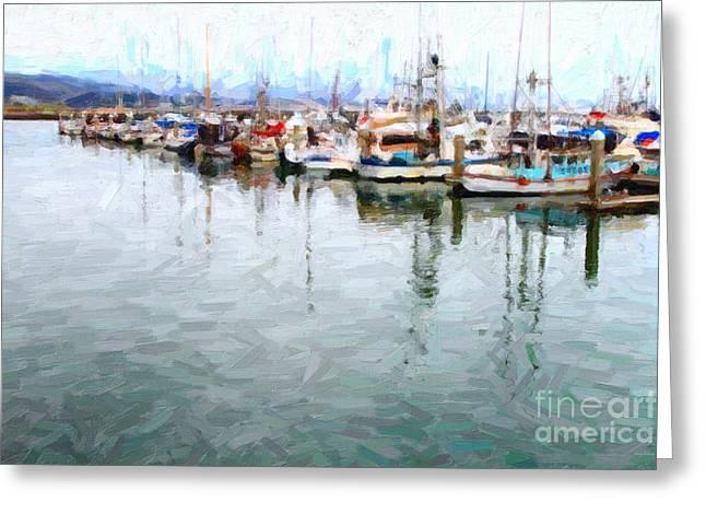 Half Moon Bay Digital Greeting Cards - Fishing Boats At The Dock . 7D8187 Greeting Card by Wingsdomain Art and Photography