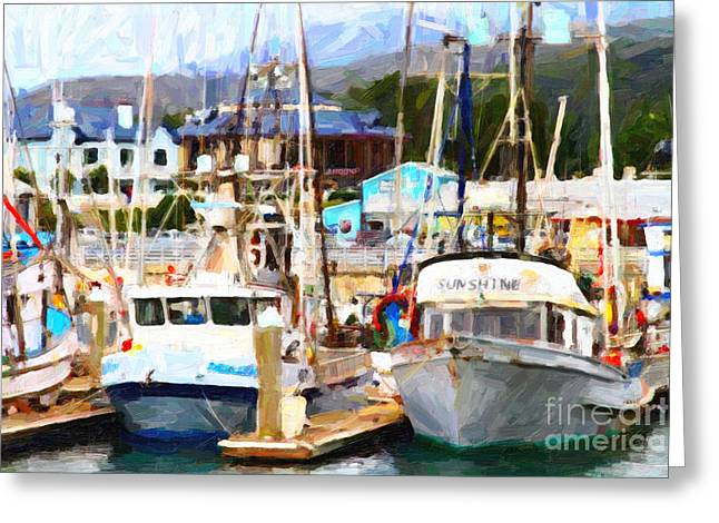 Fishing Boats At The Dock . 7d8213 Greeting Card by Wingsdomain Art and Photography