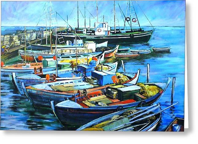 Sailboats Docked Mixed Media Greeting Cards - Fishing boats Greeting Card by George Ganciu