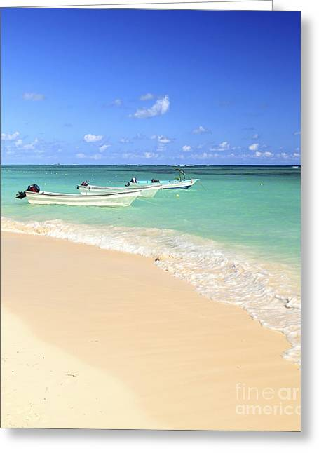 Beach White Greeting Cards - Fishing boats in Caribbean sea Greeting Card by Elena Elisseeva