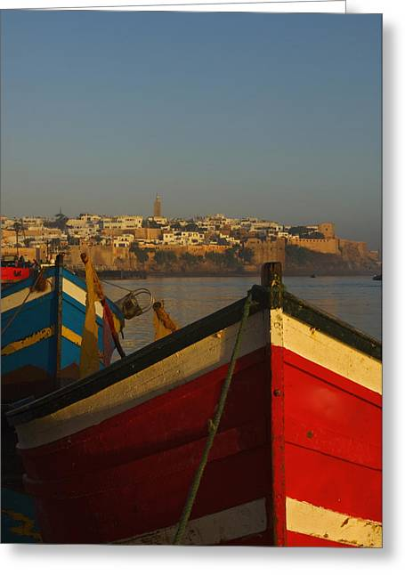 Rabat Photographs Greeting Cards - Fishing Boats In Front Of Kasbah Des Greeting Card by Axiom Photographic