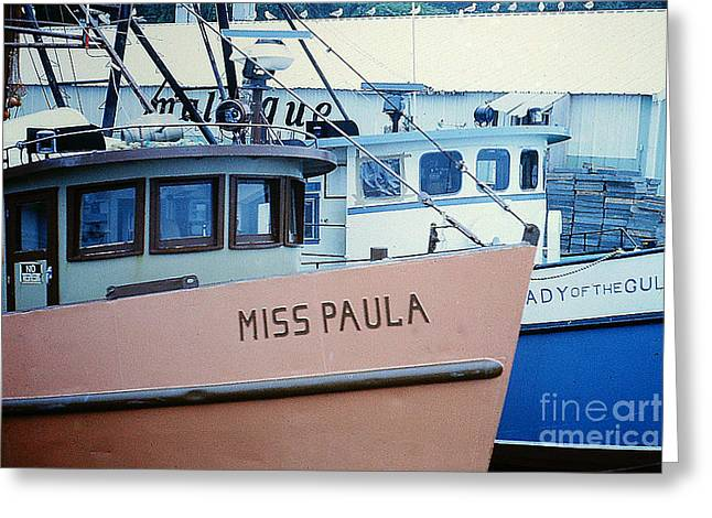 Boats At Dock Greeting Cards - Fishing Boats in Gloucester MA Harbor Greeting Card by Merton Allen