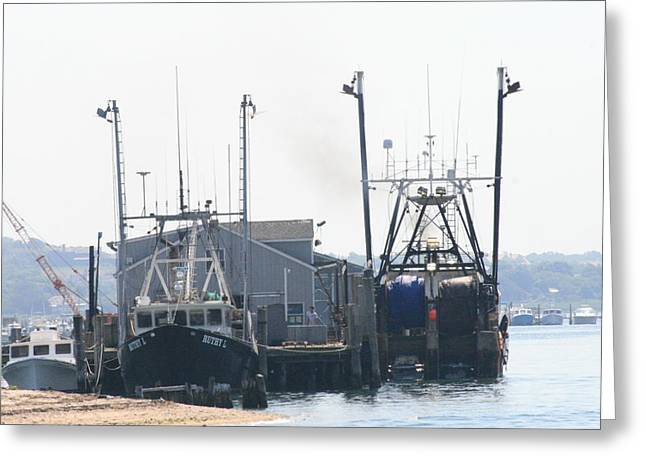 Docked Boats Greeting Cards - Fishing Boats in Montauk Greeting Card by Christopher Kirby