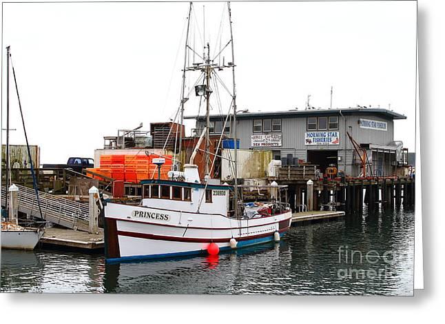 Halfmoon Bay Greeting Cards - Fishing Boats in Pillar Point Harbor at Half Moon Bay California . 7D8210 Greeting Card by Wingsdomain Art and Photography