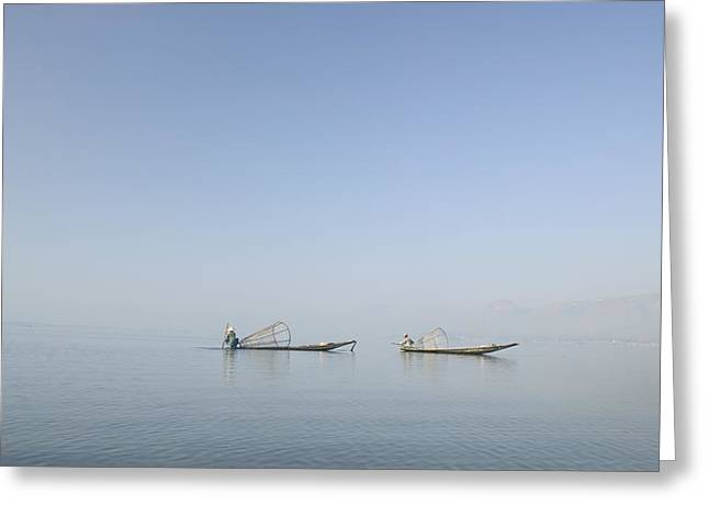 Two Persons Greeting Cards - Fishing Boats, Inle Lake, Myanmar Burma Greeting Card by Huy Lam