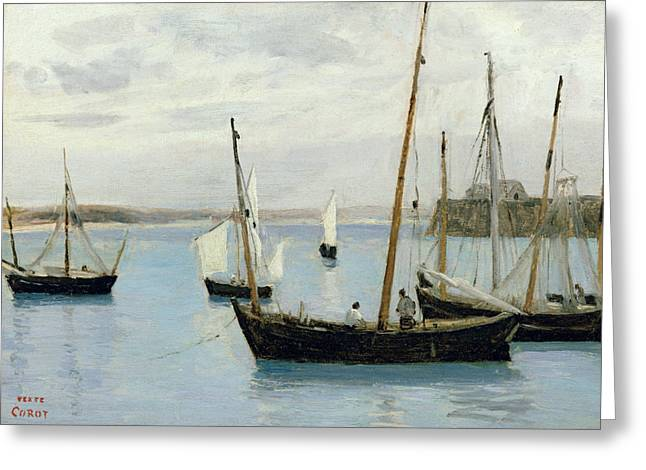 Docked Sailboat Greeting Cards - Fishing Boats Greeting Card by Jean Baptiste Camille Corot