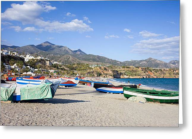 Costa Greeting Cards - Fishing Boats on a Beach in Spain Greeting Card by Artur Bogacki
