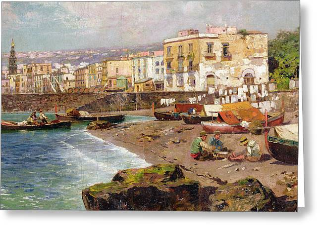 Port Town Greeting Cards - Fishing Boats on the Beach at Marinella Naples Greeting Card by Carlo Brancaccio