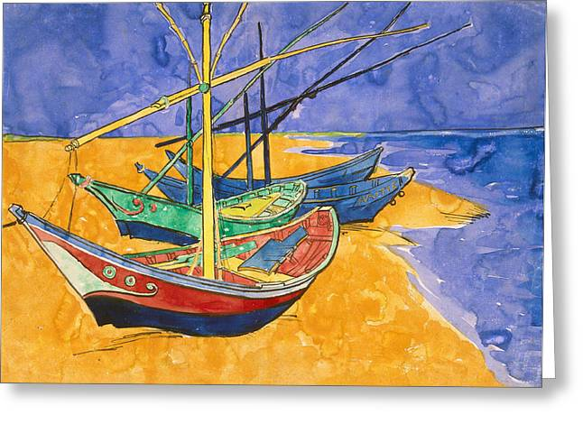 Vincent Van (1853-90) Greeting Cards - Fishing Boats on the Beach at Saintes Maries de la Mer Greeting Card by Vincent Van Gogh