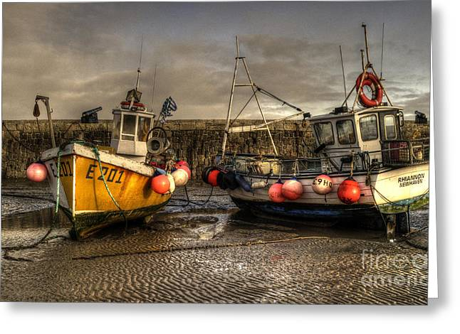 Fishing boats on the cobb Greeting Card by Rob Hawkins