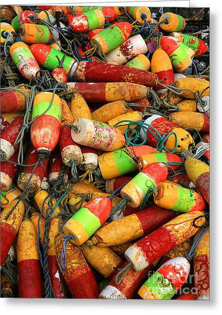 Yellow Line Greeting Cards - Fishing Buoys Greeting Card by Timothy Johnson