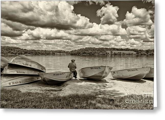 Fishing Creek Greeting Cards - Fishing by the Boats 2 Greeting Card by Jack Paolini