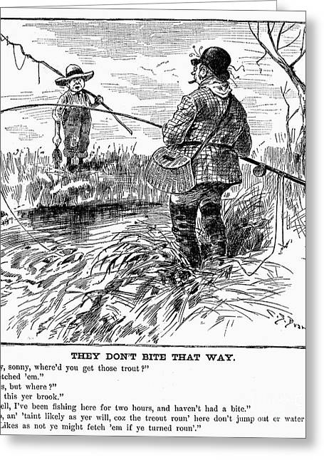 Fishing Creek Greeting Cards - Fishing Cartoon, 1888 Greeting Card by Granger